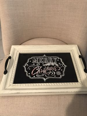 Gorgeous MERRY CHRISTMAS tray. Place on your coffee table or your kitchen counter or anywhere in your home. BEAUTIFUL! 15.5x11.5in for Sale in Southwest Ranches, FL