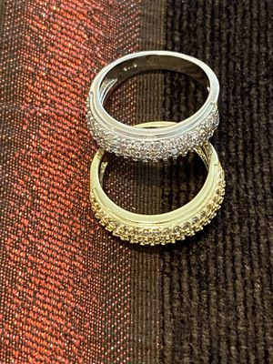 Stamped 925 Sterling Silver/ Yellow Gold plated Engagement Ring Matching Set— Unisex for Sale in Jacksonville, FL