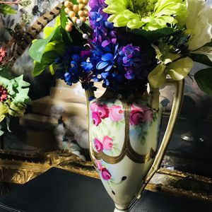 Beautiful Artificial Flower Arrangement And Antique Vase for Sale in Flowery Branch, GA