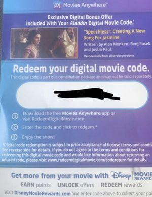 Movie digital code for Disney Aladdin for Sale in Elmendorf, TX