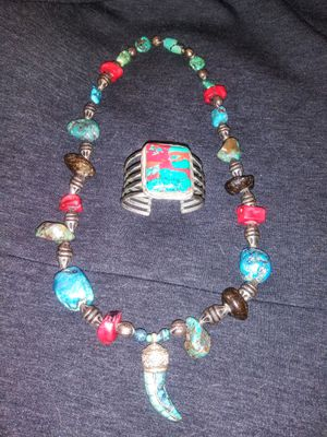 Tribal necklace and sonoran sunrise turquoise bracelet for Sale in Gilbert, AZ