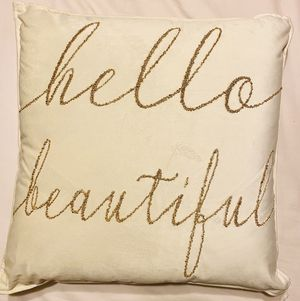 Hello beautiful embroider gold throw pillow for Sale in Bloomington, CA