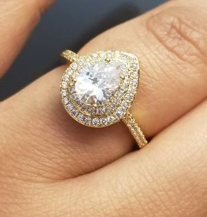 Pear Cut 18kt Gold Filled Simulated Diamond Ring size 7,8,9,10 for Sale in Silver Spring, MD