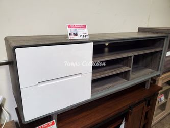 Tv Stand with 2 Drawers, Distressed Grey & White, SKU# ID172169TC for Sale in Santa Fe Springs,  CA