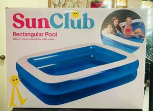 Brand NIB Sun Club 6.5ftx5ftx20In Inflatable Rectangular Pool -Same Day Shipping for Sale in Chicago, IL