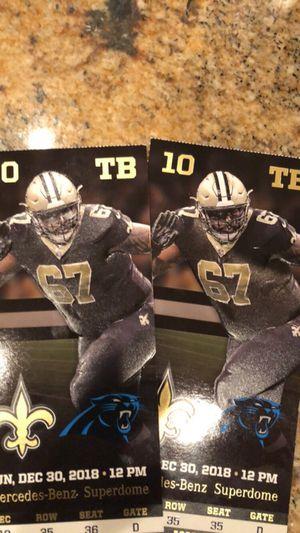 2 saints tickets Carolina game December 30th for Sale in Prairieville, LA