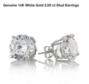 925 Sterling Silver Round Clear Cubic Zirconia Men Women Ear Stud Earrings for Sale in Aldie, VA