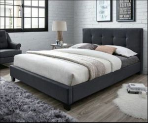 Queen platform bed and Mattress Read Description in Full ***Deal includes*** Queen Headboard, footboard rails and Organic sealy Mattress and box spri for Sale in Edison, NJ