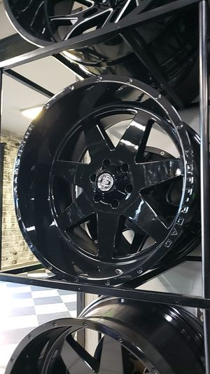 22x12 black hardcore rims 6 lug 6x139 6x5.5 on new mud terrain tires 33 1250 22 for Sale in Phoenix, AZ