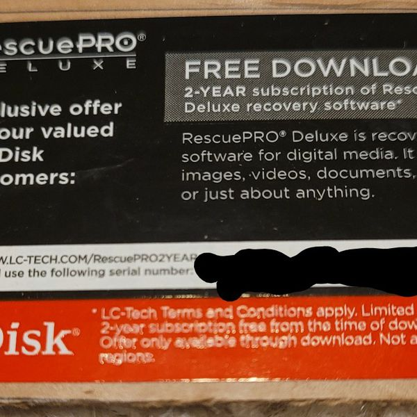 Sandisk Rescue Pro Deluxe 2 Year Subscription