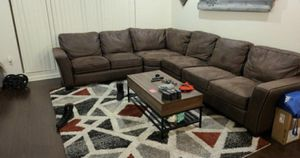 Brown Sectional Couch and Area Rug for Sale in Los Angeles, CA