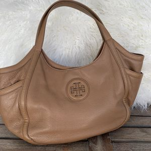 Authentic used Tory Burch hobo camel leather bag purse for Sale in Miami, FL