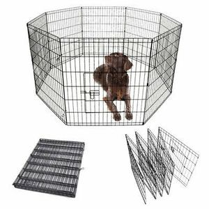 """New in box 30"""" tall x 24"""" wide each panel x 8 panels steel wire exercise playpen 16 feet long fence safety gate dog cage crate kennel for Sale in Whittier, CA"""