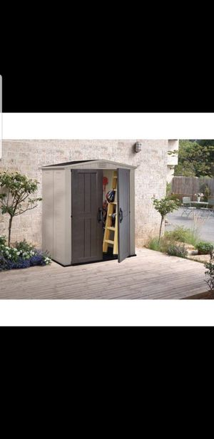 Keter Factor 6' x 3' Resin Storage Shed, Beige/Taupe for Sale in Houston, TX