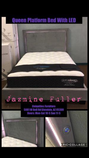 Queen size platform bed frame with LED lights for Sale in Glendale, AZ