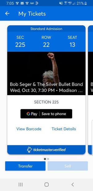 Bob Seger concert tickets for Sale in Middletown, NJ