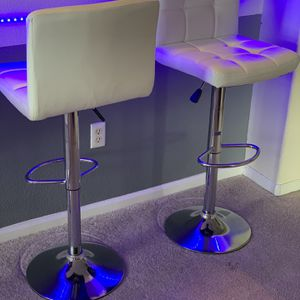 Adjustable Tall White Leather Barstools-set of 4 for Sale in Denver, CO
