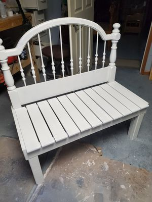 Bench made from twin bed frame white for Sale in RAISINVL Township, MI