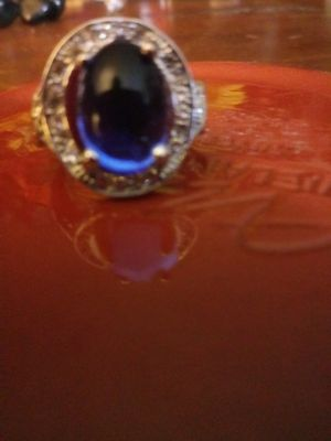 Blue Cubic Zirconia Stone Silver Ring for Sale in Baldwin Park, CA