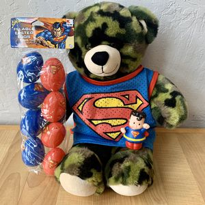 Superman Fan Easter Toy Lot, BAB Build A Bear Workshop Camouflage Teddy Bear Wearing Superman Mesh Tank Top (Not BAB), Superman Easters Eggs, And Fi for Sale in Elizabethtown, PA