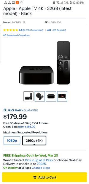 Apple TV 4K - 32GB (latest model) - Black for Sale in El Paso, TX