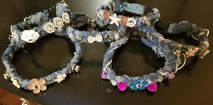 Braided denim dog/cat jewelry/collar with added bling for Sale in Victoria, TX