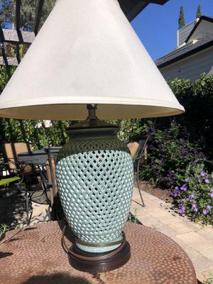 Lamp, Jade colored ceramic lattice work for Sale in Palo Alto, CA