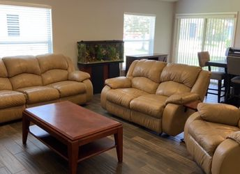 Real Leather Sofa Loveseat And Recliner for Sale in Clermont,  FL