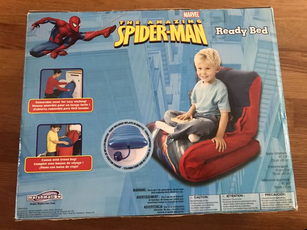 New in box Spider-Man inflatable, Portable comfortable sleeping bag pump included. Can be a chair and bed nice Gift