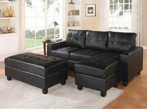Black leather sectional sofa with ottoman convertible sleeper couch for Sale in Buena Park, CA