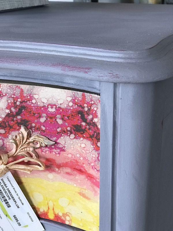 Boho colorful pink grey and orange vintage dresser
