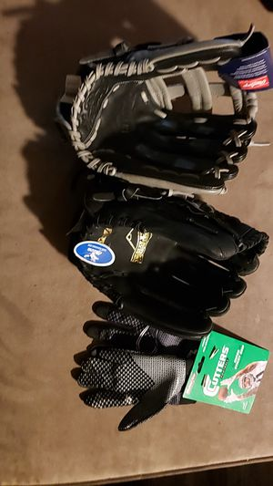 Baseball and football gloves for Sale in Greenwood, IN