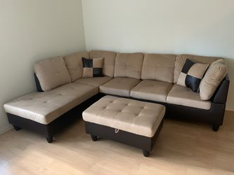 New 3pc Beige Sectional Sofa Set for Sale in Kent,  WA