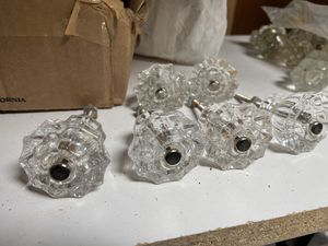 6 vintage or antique set of glass knobs flower for Sale in Portland, OR