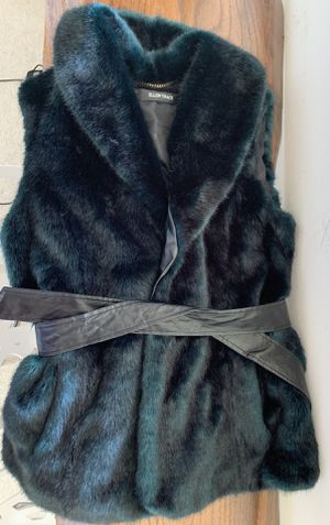 Ellen Tracy faux fur vest teal blue black for Sale in Lynnwood, WA