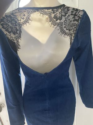 Brand new denim dress with lace for Sale in New Orleans, LA