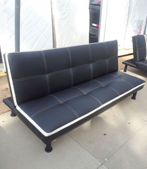 Brand New Black Leather Tufted Futon With White Trim for Sale in Puyallup, WA