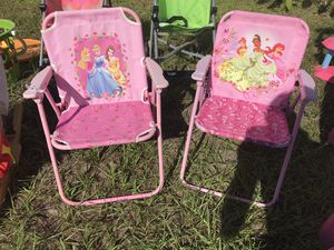 Pair of kids fold up princess chairs $5 for both for Sale in Wesley Chapel, FL