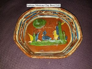 Antique Mexican Clay Bowl $40 for Sale in Dresden, OH