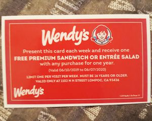 1 Year Free Wendy's for Sale in Lompoc, CA