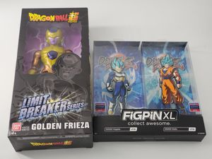 Dragonball Fighter Z Figpin XL Goku & Vegeta Super Saiyan God. + Golden Frieza for Sale in Milford Square, PA
