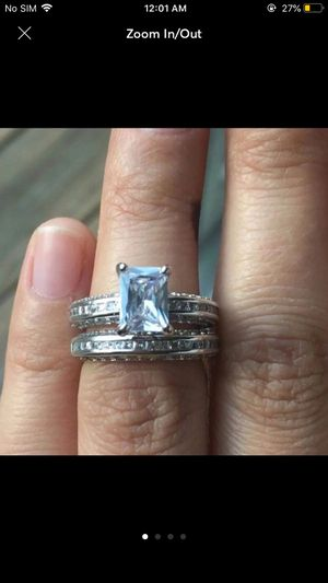 Sterling silver plated 925 stamped sapphire wedding engagement ring band size 6 for Sale in Silver Spring, MD