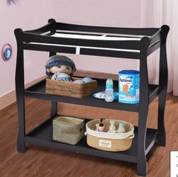 Black Sleigh Style Baby Infant Newborn Changing Table Nursery Diaper Station for Sale in Ontario,  CA