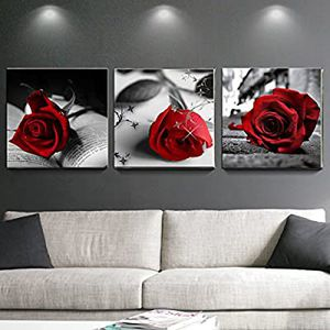 Canvas Wall Art Red Rose Flowers Gray Books Pictures Painting for Sale in Marquette, MI