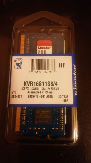 BRAND NEW KINGSTON 4GB PC3-12800 CL11 204-PIN RAM for Sale in Gaston, IN