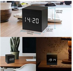 Digital Alarm Beside Clock Wooden - Mini Square LED Cube Square Displays Timer Date Temperature Travel Kids Bedroom New for Sale in Silver Spring, MD