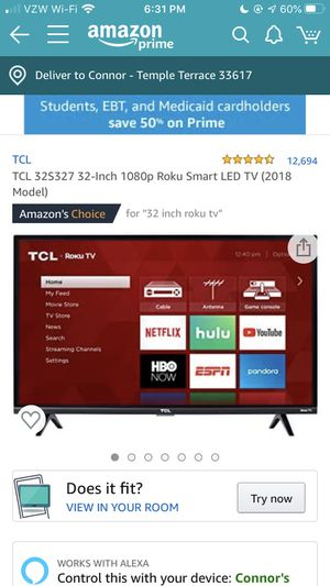 32in TCL Roku Smart TV for Sale in Tampa, FL