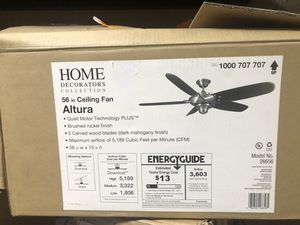 New Home Decorators Collection Altura 56 in. Indoor Brushed Nickel Ceiling Fan with Remote Control for Sale in Los Angeles, CA