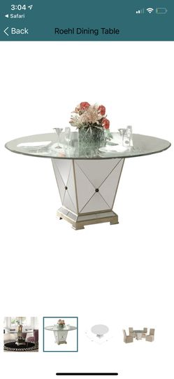 Mirrored Base Glass Top Dining Table - Huge Discount With 2-chairs Included For Free for Sale in Los Angeles,  CA