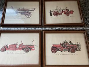 Vintage 1979 Wade Bonds Early Era 1900's Fire Truck Prints for Sale in Stanley, NC